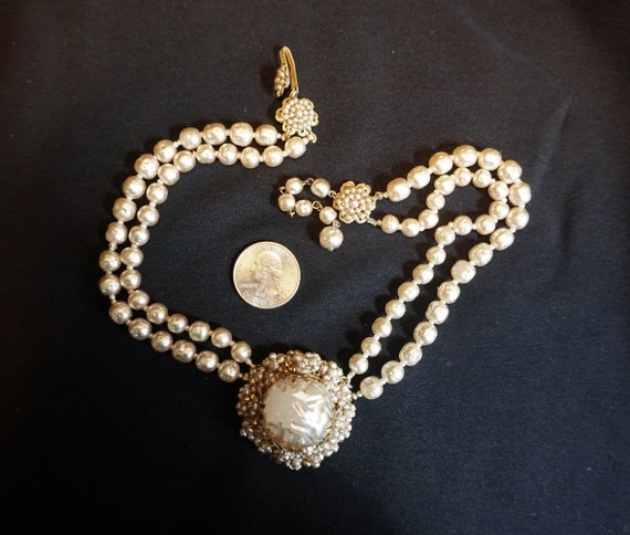Vintage Double-Strand Faux Pearl Choker with Larg… - image 4