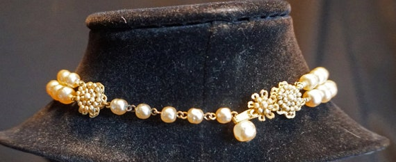 Vintage Double-Strand Faux Pearl Choker with Larg… - image 8
