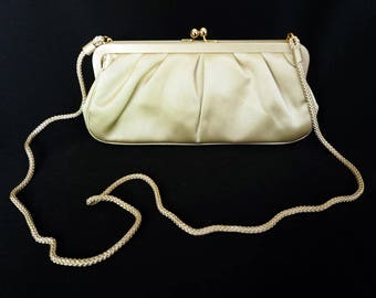 TALBOTS Vintage Gold Purse Evening Bag with Snap Top and Long Rope Strap