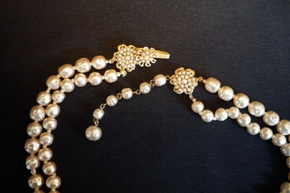 Vintage Double-Strand Faux Pearl Choker with Larg… - image 9