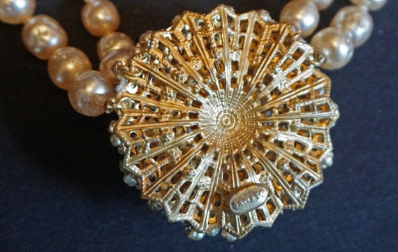Vintage Double-Strand Faux Pearl Choker with Larg… - image 3