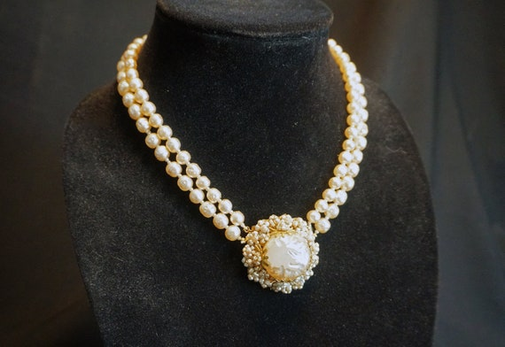 Vintage Double-Strand Faux Pearl Choker with Larg… - image 1