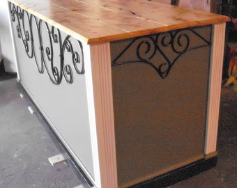 Ready to ship Ornate Gray and Red Store Counter/ Kitchen Island/ ON SALE !