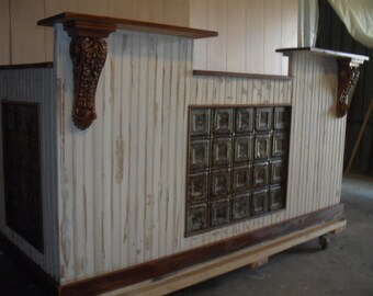 Reclaimed Antique wood & tin sales counter