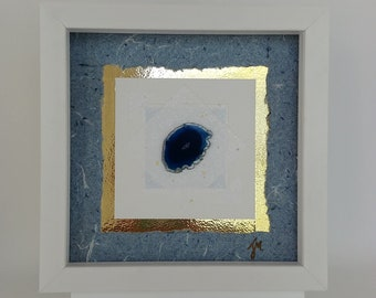 d4096a20edf5 Original Framed Mixed Media Collage Art with Handmade Paper and Sliced  Agate in an 8 x 8 White Shadow Box Frame. Blue