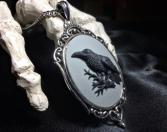 Raven Cameo Necklace on Gray // Raven Necklace // Gothic Necklace // Edgar Allan Poe // Victorian Jewelry // Gothic Cameo