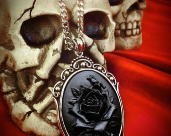 Black Rose Cameo Necklace // Black Rose Necklace