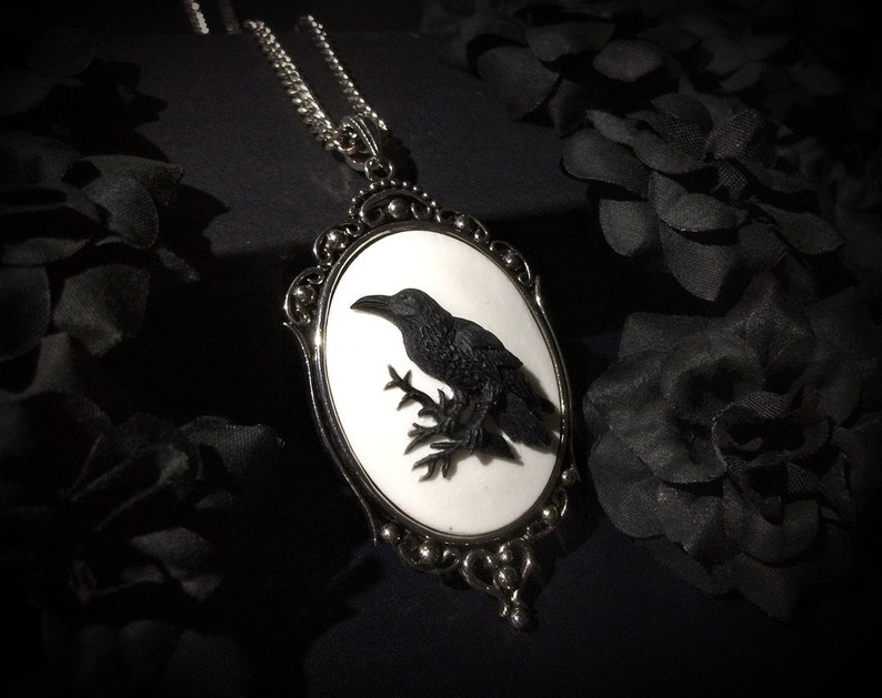 Black Raven Crow Silhouette Necklace with Chain Edgar Alan Poe Gothic Halloween