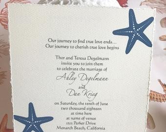 starfish invitations for a beach wedding
