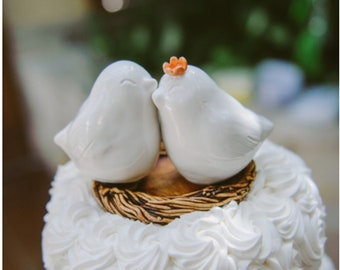White Cuddling Love Bird Wedding Cake Topper Personalized to Match Your Wedding Color Theme