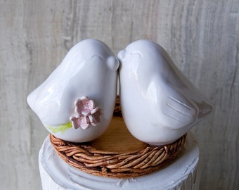 White Love Bird Wedding Cake Topper with Bouquet