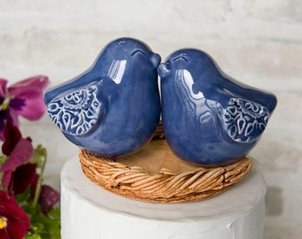 Denim Blue Love Bird Wedding Cake Topper with Textured Wings