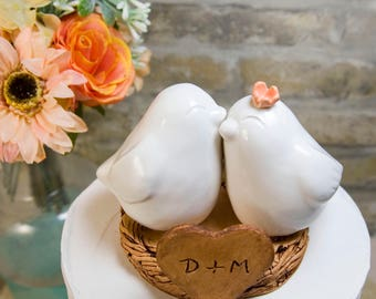 White Love Bird Wedding Cake Topper