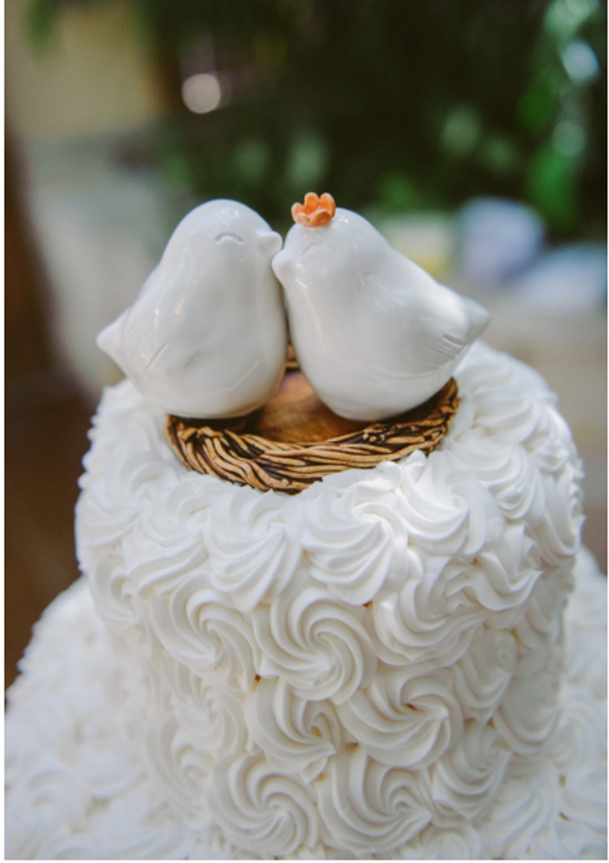 White Cuddling Love Bird Wedding Cake Topper Customized Flower To
