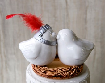 Medieval Love Bird Wedding Cake Topper with Knights Helmet
