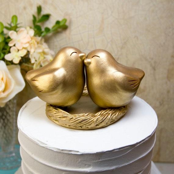 1 x Decorativo Oro Novios Topper con Boquet De Flores Y Anillos