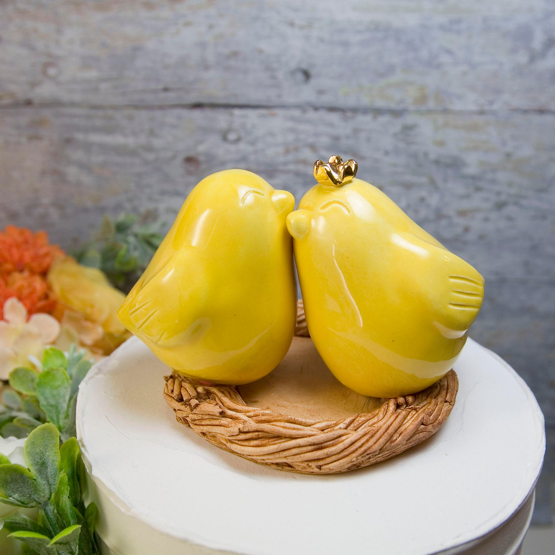 Yellow Love Bird wedding Cake Topper with Real 22 ct. Gold Crown