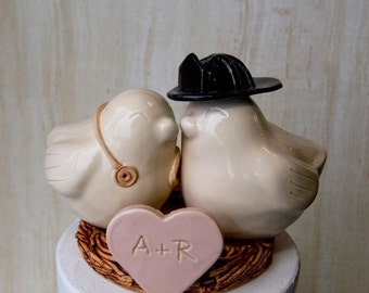 Firefighter and Nurse Wedding Cake Topper Love Birds with Initialized Heart Added to the Nest