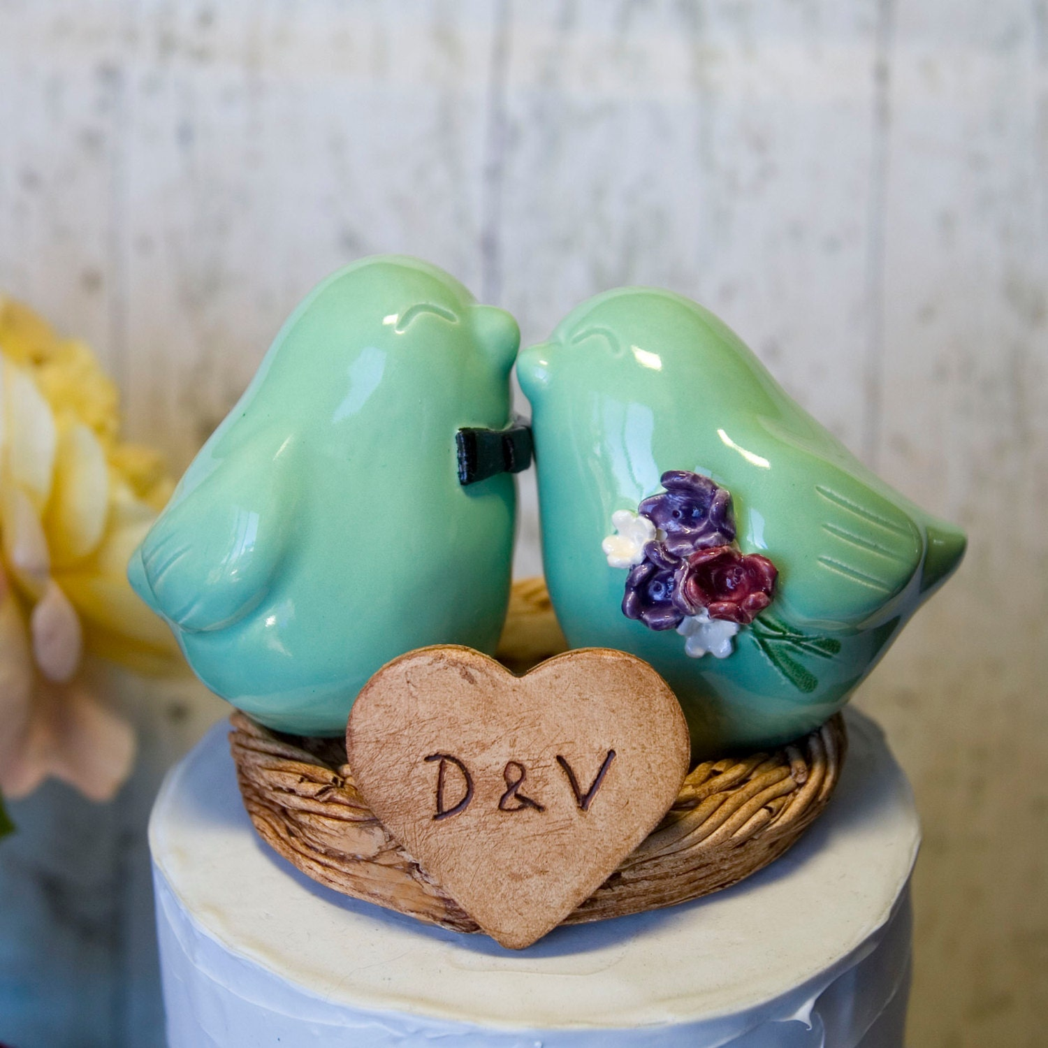 Love Bird Wedding Cake Topper With Bow Tie Bouquet And Initialized