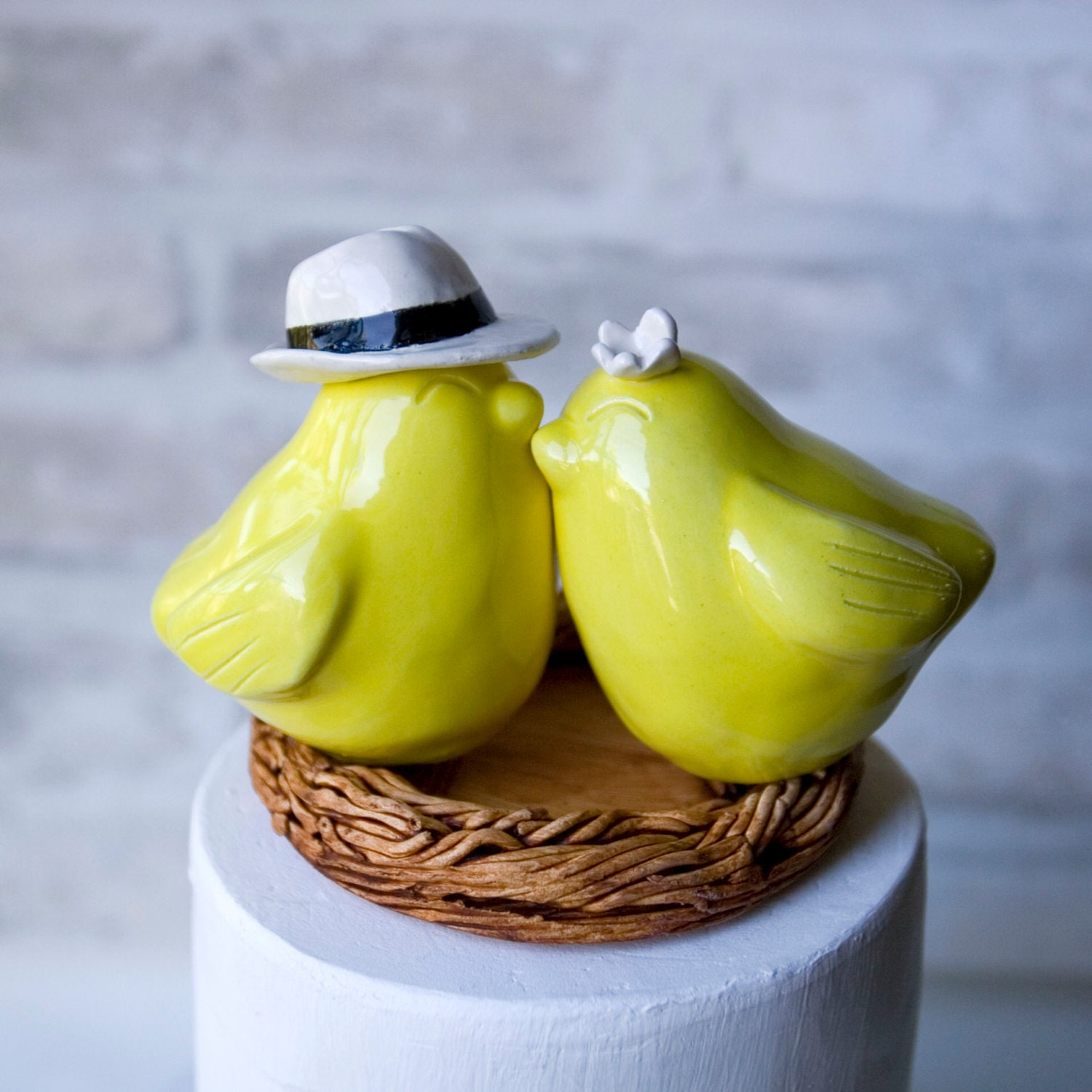 Love Bird Cake Topper with White Fedora and Flower, Yellow ...