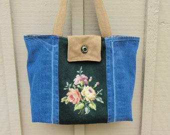 Vintage Floral Needlepoint Denim Tote Bag