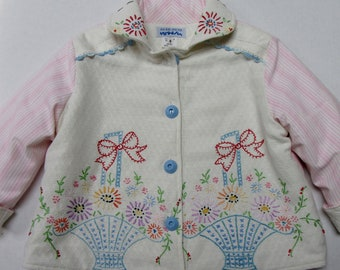 Size 5 Little Girl Hand Embroidered Jacket Coat