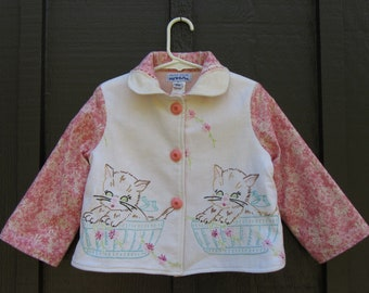 Size 3 Vintage Embroidered Girl Coat Jacket with Kittens