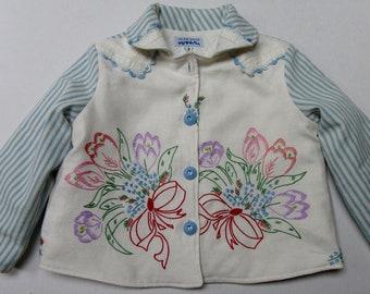 Size 5 Girls Vintage Embroidered Jacket