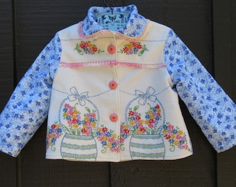 Size 3 Vintage Embroidered Girl Coat Jacket with Flowers