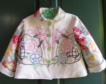 Size 4 Girls Vintage Embroidered Floral Jacket