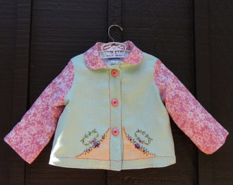 Size 2 Baby Girl Vintage Embroidered Jacket in Linen