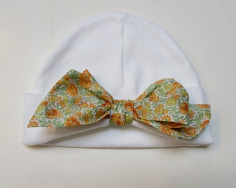 Infant Bow Cap with Liberty of London 0-3mos