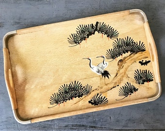 bamboo serving tray with metal corners - bonsai and cranes - Mid Century Modern - Japanese Asian Chinoiserie - decorative bar tray