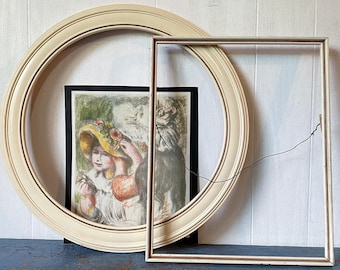 Antique Painted Wood Frames - Ivory Cream - Rustic Farmhouse - Cottage Shabby Display - PAIR