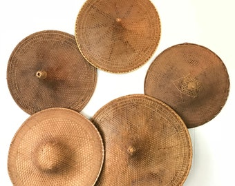 vintage bamboo cone hats - Asian rice paddy sedge hats - basket wall gallery - boho chinoiserie