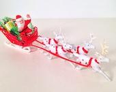 vintage Santa's sleigh and reindeer ornament