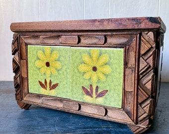 Tramp Art Wooden Box with Ceramic Tiles - Large Lidded Box - Jewelry Keepsake Box - Folk Art - Rustic Home Storage