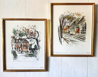 Vintage John Haymson Architecture Prints - Colonial Williamsburg - The Capital - Waters Coleman House - Framed Wall Art - PAIR