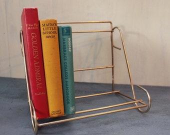 vintage book rack - brass table top book shelf