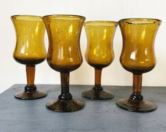 hand blown wine glasses - boho brown goblets - toasting glasses - jewel tone barware - wedding table decor - Set of 4