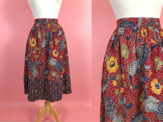 Vintage 1970s Foxy Lady Burgundy Peacock Skirt 24