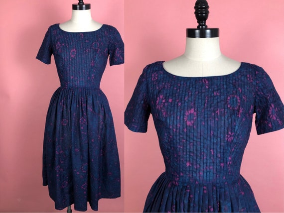 Vintage 1950's L'Aiglon Navy Pink Purple Dress S