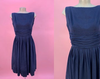 Vintage 1950's Navy Blue Cotton Dress Sleeveless XS