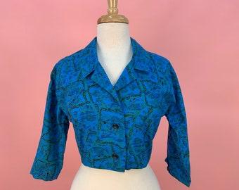 Vintage 1950's Bright Blue Green Cotton Cropped Waist Bodice Dress Jacket S