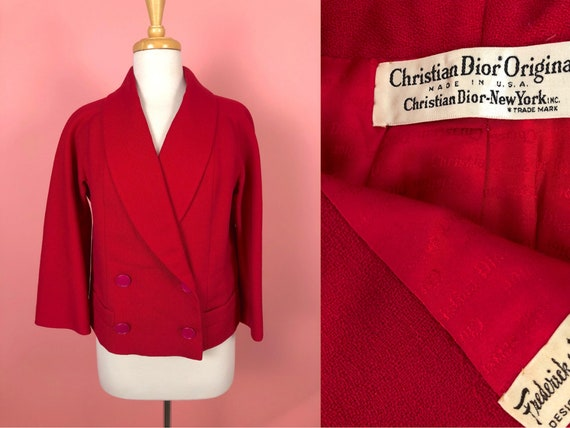 Vintage 1970's Christian Dior Red Suit Jacket M L