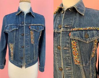 Vintage 70's 80's Levis Jean Jacket Seed Beaded XS Jr 16 XS