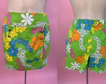 Vintage 1960's Flower Power Skort Shorts S M