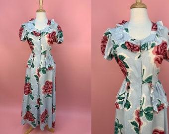 Vintage 1940's Blue Floral Rose Cotton Puff Sleeve Zip Front House Dress L