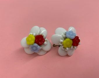 Vintage 1940's Milk Glass Screw Back White Blue Yellow Red Earrings