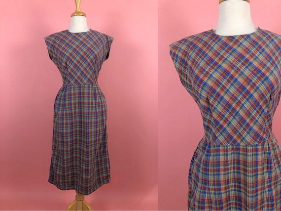 Vintage 50's 60's Wildman Blue Plaid Cotton Dress